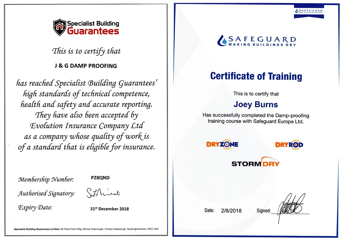 J & G Damp Proofing Certificates